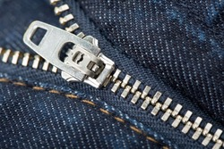 zipper on the trousers, close-up