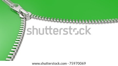 Zipper on white background. 3D image isolated on a white