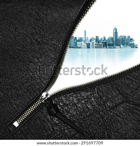 Zipper open concept dream city with modern building on a white background.