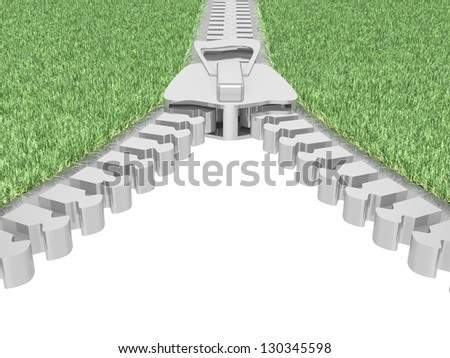 Zipper with grass on white background. Isolated 3D image
