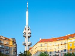 Zizkov Television Tower in Prague, Czech Republic.