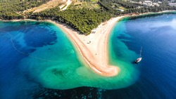 Zlatni rat beach from above in Croatia