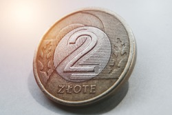 Zloty coins. Close up of polish money in coins. Investment and interest in poland concept. Polish zloty. Business and commercial idea