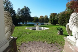 Zloty Potok Polska, Slask, view of the fountain and pond; Raczynski castle and estate