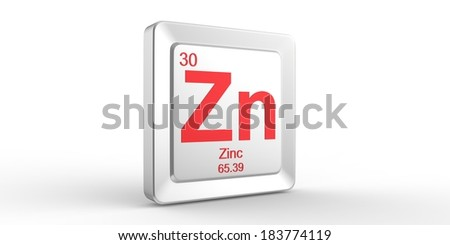 Zn symbol 30 material for Zinc chemical element of the periodic table