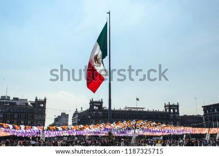 Zocalo de la Cuidad de México/Bandera de México/ Zocalo of the City of Mexico / Flag of Mexico  #1187325715