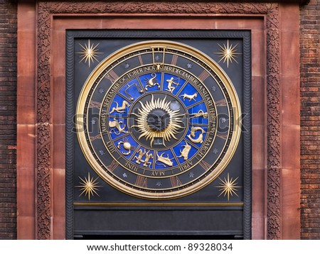 Zodiac clock on a building in city of London