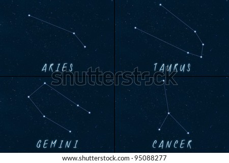 Zodiac Constellations - Horoscope - Aries, Taurus, Gemini, Cancer