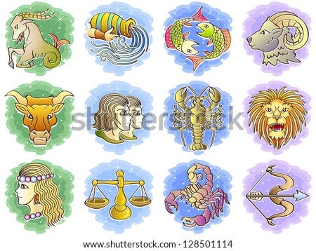 Zodiac Icon Set. Raster version, vector file also included in the portfolio.
