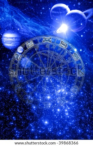 zodiac over mystical blue astrological background with stars and planet