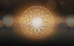 Zodiac sign horoscope astrology for foretell and fortune telling education course concept with horoscopic wheel on and constellation background