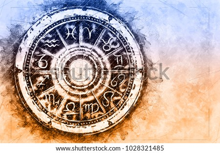 Zodiac sign horoscope cirlce on grunge background. Creative Astronomy Symbol concept