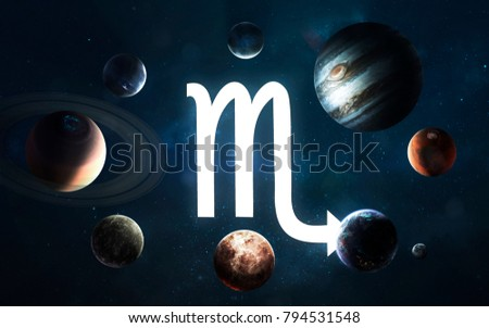 Zodiac sign - Scorpio. Middle of the Solar system. Elements of this image furnished by NASA