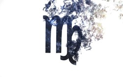 Zodiac sign - Virgo. Dust of the universe, minimalistic art. Elements of this image furnished by NASA