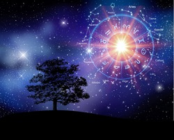 Zodiac signs inside of horoscope circle. Astrology in the sky, horoscopes concept