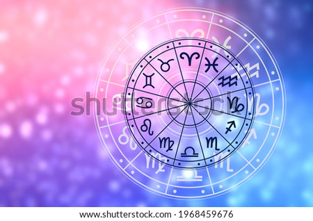 Zodiac signs inside of horoscope circle. Astrology in the sky with many stars and moons  astrology and horoscopes concept Stock photo ©