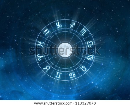 Zodiac Signs - New age horoscope with universe space and stars