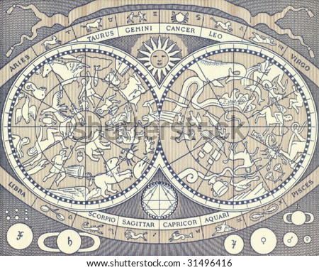 Zodiac signs on 2000 Lire 1983 banknote from Italy