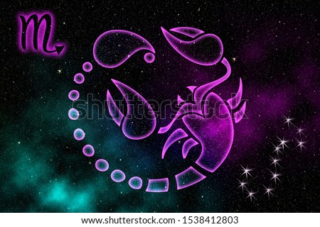 Zodiac signs. The astrological sign of the zodiac is Scorpio, against the background of outer space. Illustration.