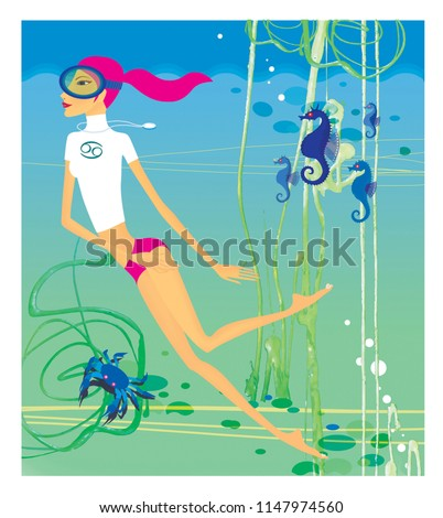 Stock Photo Zodiac sports lady. Cancer. A girl in a scuba mask engaged in diving among sea horses, algae and crabs.