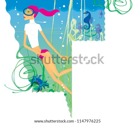 Stock Photo Zodiac sports lady. Cancer. A girl in a scuba mask engaged in diving among sea horses, algae and crabs.  In the form of a  shield.
