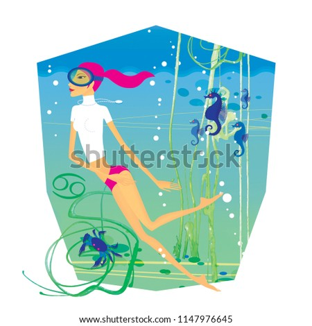 Stock Photo Zodiac sports lady. Cancer. A girl in a scuba mask engaged in diving among sea horses, algae and crabs.  In the form of a heraldic shield.