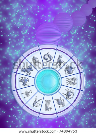 Zodiac wheel isolated on the sky, stars and planets stylized. the twelve signs of the zodiac