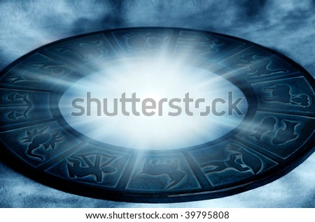zodiac with beautiful astrological symbol and mystical star light
