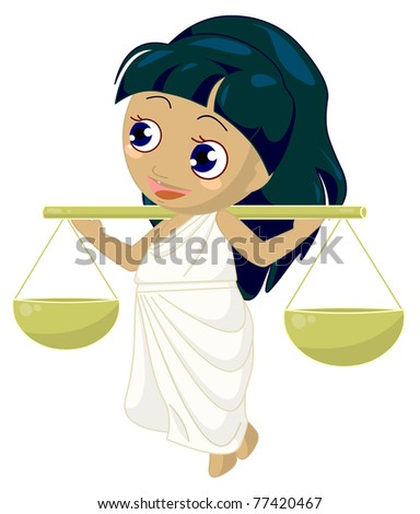 zodiacal child Libra. Clipping path included.