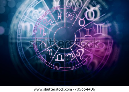Zodial sign horoscope cirlce on dark background. Creative background. Symbol concept. 3D Rendering  Stock photo ©