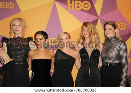 Zoe Kravitz, Reese Witherspoon, Laura Dern, Shailene Woodley and Nicole Kidman at the HBO's Official Golden Globe Awards After Party held at the Circa 55 in Beverly Hills, USA on January 7, 2018.