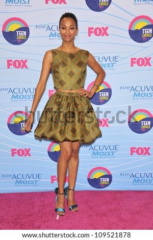 Zoe Saldana at the 2012 Teen Choice Awards at the Gibson Amphitheatre, Universal City. July 23, 2012  Los Angeles, CA Picture: Paul Smith / Featureflash