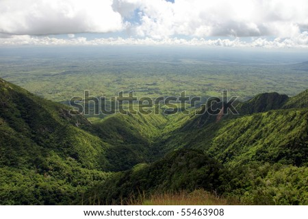Zomba plateau overlooking a flat valley below.