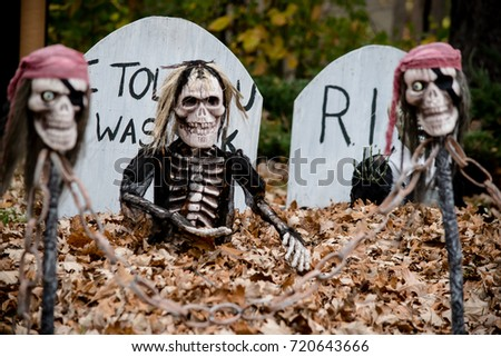 zombie and skeleton decorations for halloween #720643666