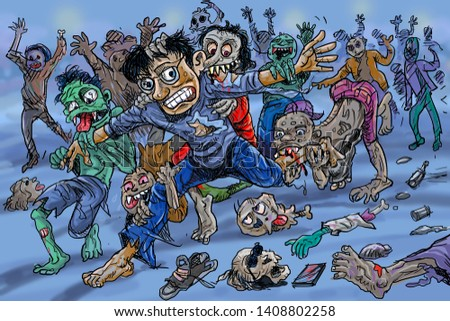 Zombie attack sketch coloring illustration