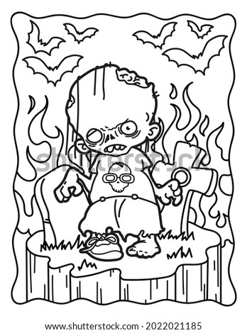 Zombie. Coloring book for children. Coloring book for adults. Halloween. Coloring book for Halloween. Cute horror movies.