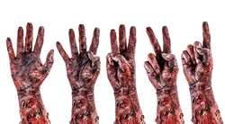 zombie hand counting down from 5 to 1, day of the dead or halloween concept