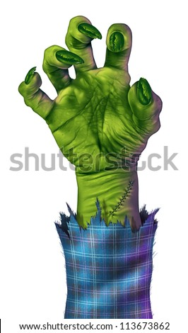 Zombie hand reaching to grab something or someone as a human like green monster hand with sharp nails and stitches with a blue plaid jacket.on a white background representing halloween and fear.