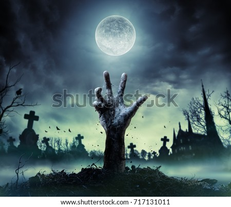 Zombie Hand Rising Out Of A Grave  #717131011