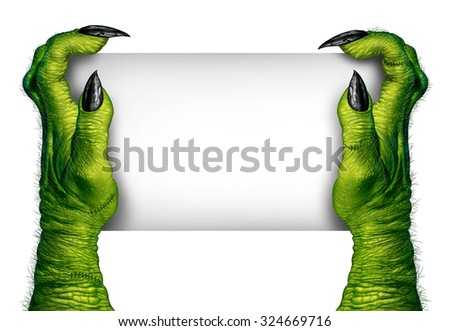 Zombie hands holding sign and green monster fingers with blank card as a creepy halloween or scary symbol with textured skin wrinkled scary arms and stitches isolated on a white background.