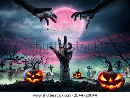 Zombie Hands Rising Out Of A Graveyard With Full Moon And Halloween Pumpkins - Contain 3d Illustration