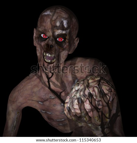 Zombie Holding Brain: An undead Zombie glaring at you with red eyes clutching a brain under the shadow of a spooky tree. Isolated on a black background.