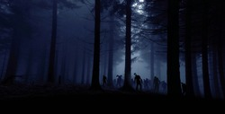 zombie horde in forest, blue toned photo