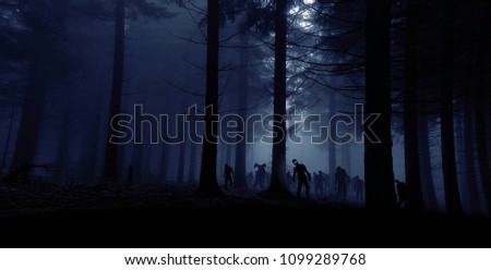 zombie horde in forest, blue toned photo Stock fotó ©