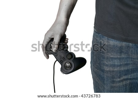 Zombie male hand hold video game controller isolated on white