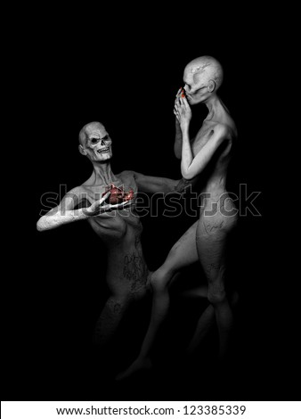 Zombie's in Love - Zombie declaring his undying love, offering his heart to his girl..Isolated on a black background.