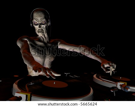 Zombie's in the House and mixing up some Halloween horror.  Turntables with vinyl albums.