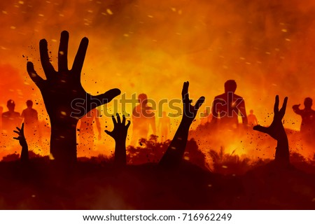 Zombies hand silhouette #716962249