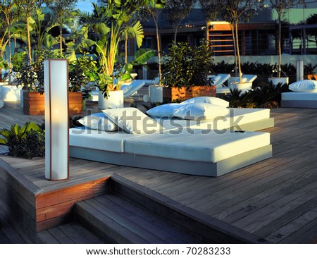 zone of rest and bar in modern hotel of barcelona - stock photo