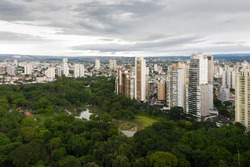 Zoological park of Goiania next to the lake of roses, Goias, Brazil, residential buildings in the background